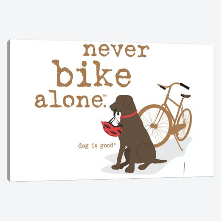 Never Bike Alone Canvas Print #DIG47} by Dog is Good and Cat is Good Canvas Art Print