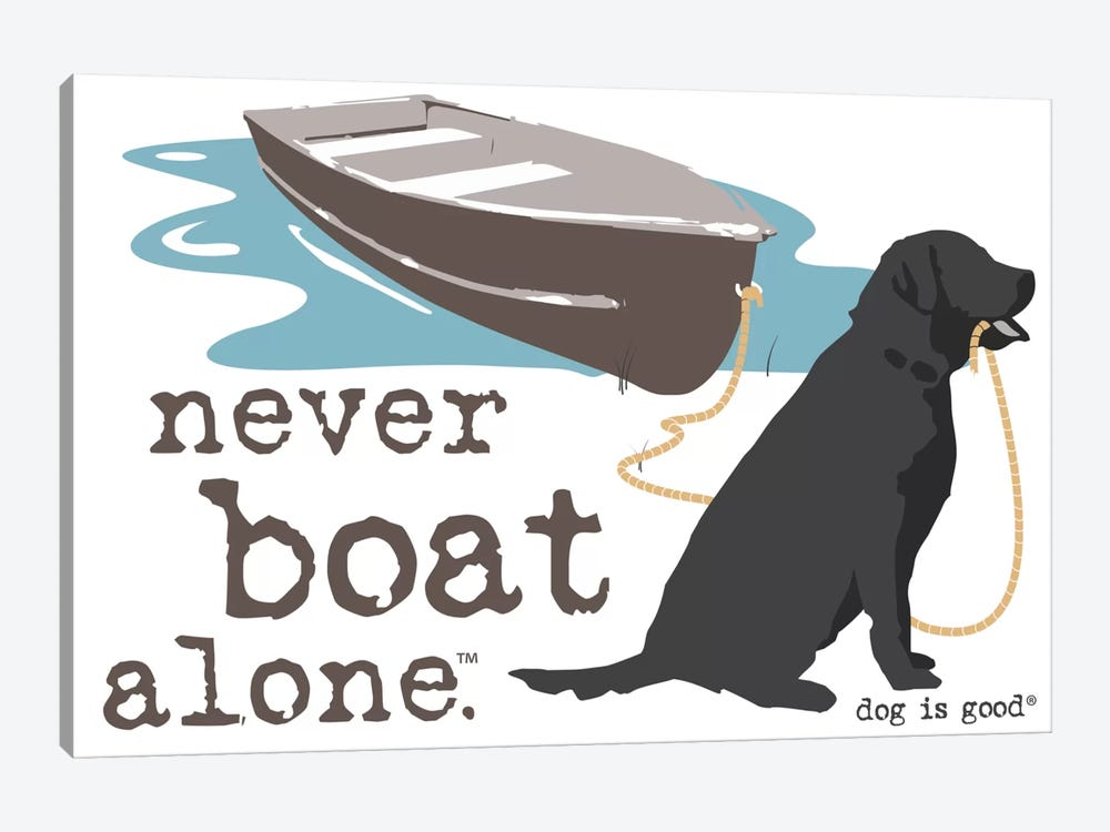 Never Boat Alone II by Dog is Good and Cat is Good 1-piece Canvas Artwork