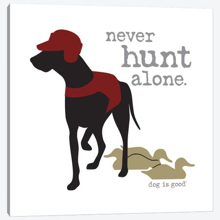 Never Hunt Alone 3-Piece Canvas #DIG56} by Dog is Good and Cat is Good Canvas Artwork