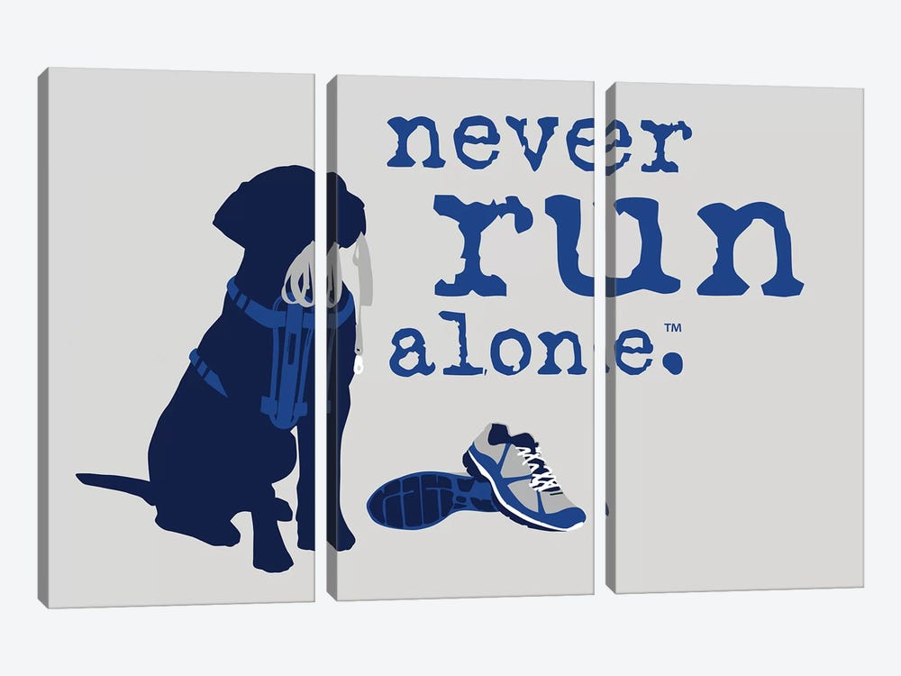 Never Run Alone by Dog is Good and Cat is Good 3-piece Canvas Print