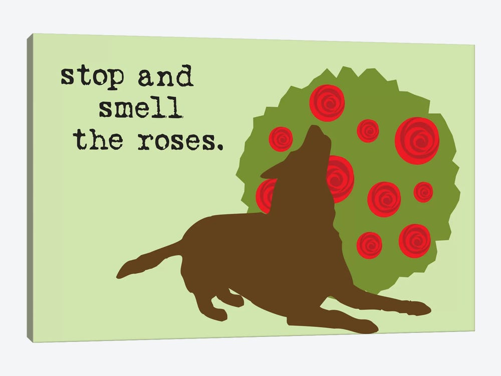 Smell The Roses by Dog is Good and Cat is Good 1-piece Canvas Art