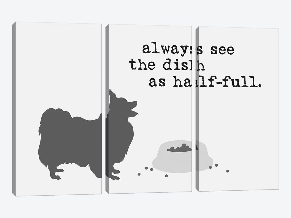 Half Full II by Dog is Good and Cat is Good 3-piece Canvas Print