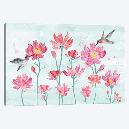 Flowers and Feathers I Canvas Print #DIJ38} by Dina June Canvas Art