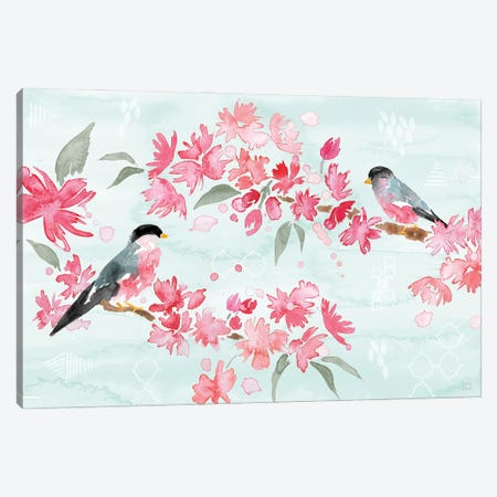 Flowers and Feathers II Canvas Print #DIJ39} by Dina June Canvas Art