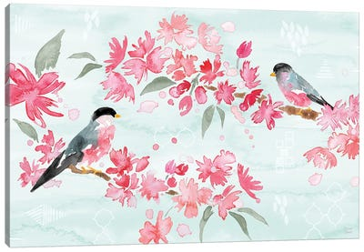 Flowers and Feathers II Canvas Art Print