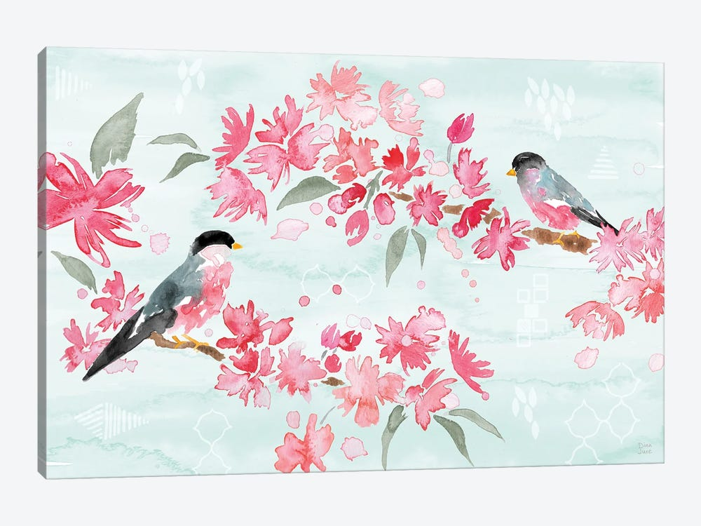 Flowers and Feathers II by Dina June 1-piece Canvas Art