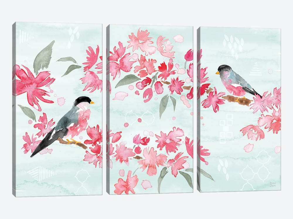 Flowers and Feathers II by Dina June 3-piece Canvas Wall Art