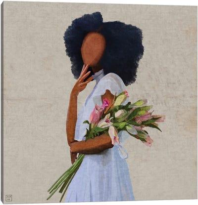 White Dress Girl Canvas Art Print