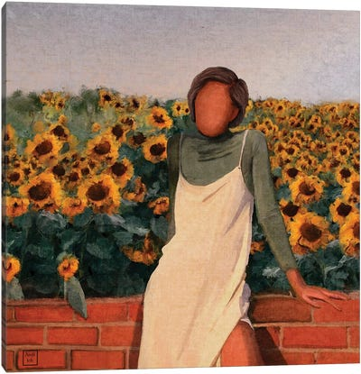 Sunflower Girl Canvas Art Print
