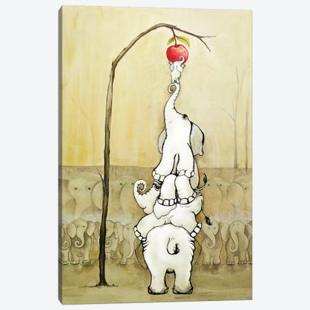 Whimsical Elephants with Red Apple Canvas Print #DIN29} by Diannart Canvas Art Print