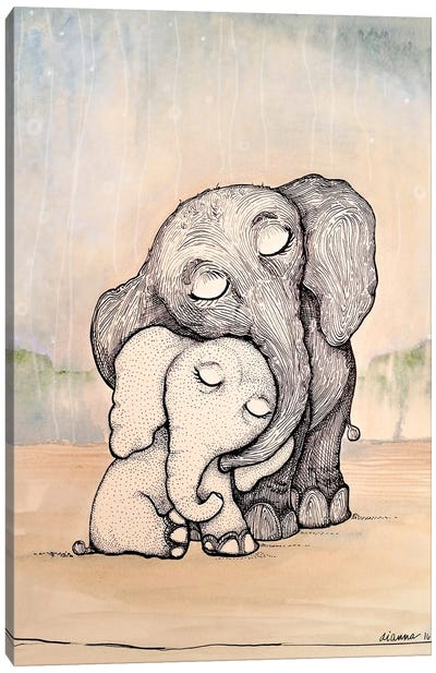 Whimsical Mom and Baby Elephant Canvas Art Print