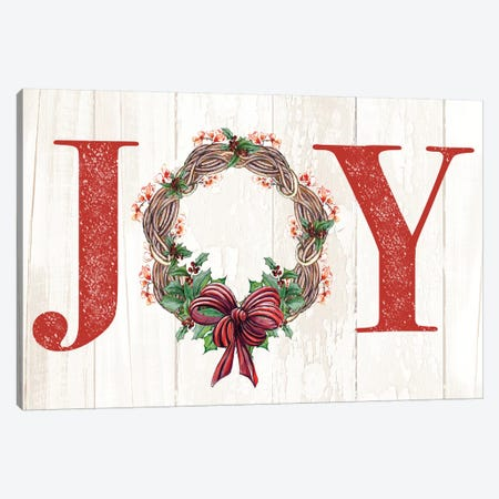 Joyeux Noel Wreath Canvas Print #DIN45} by Diannart Canvas Wall Art