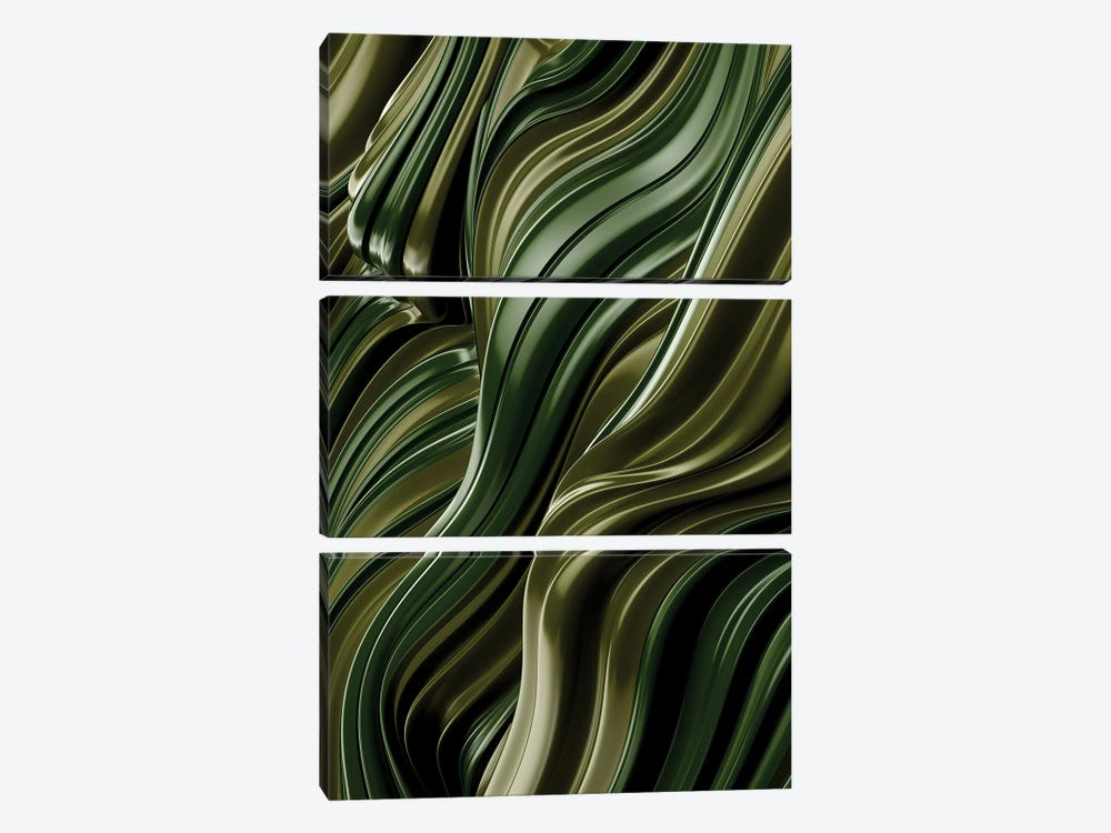Green Wave, Vertical by Danny Ivan 3-piece Canvas Print