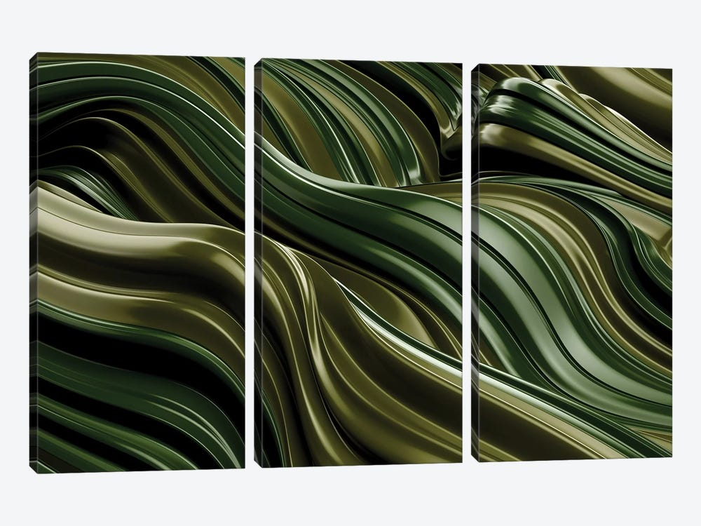 Green Wave, Horizontal by Danny Ivan 3-piece Canvas Wall Art