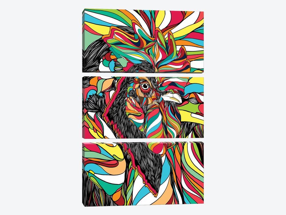 Tropical Cock by Danny Ivan 3-piece Canvas Print