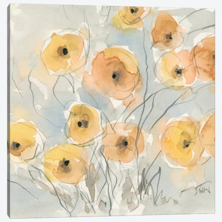 Sunset Poppies I Canvas Print #DIX27} by Samuel Dixon Canvas Wall Art