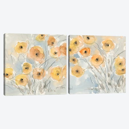Sunset Poppies Diptych Canvas Print Set #DIX2HSET002} by Samuel Dixon Canvas Artwork