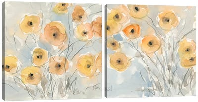 Sunset Poppies Diptych Canvas Art Print