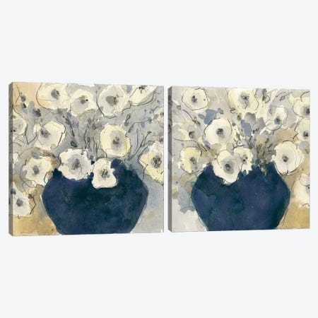 White Blossom Study Diptych Canvas Print Set #DIX2HSET003} by Samuel Dixon Canvas Art