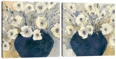 White Blossom Study Diptych Canvas Art Print