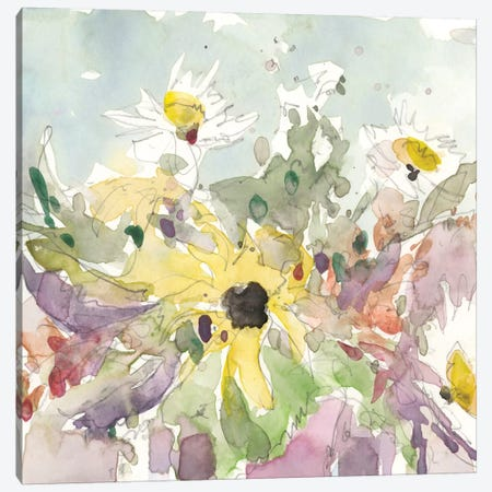Daisy Vase I 3-Piece Canvas #DIX41} by Samuel Dixon Art Print