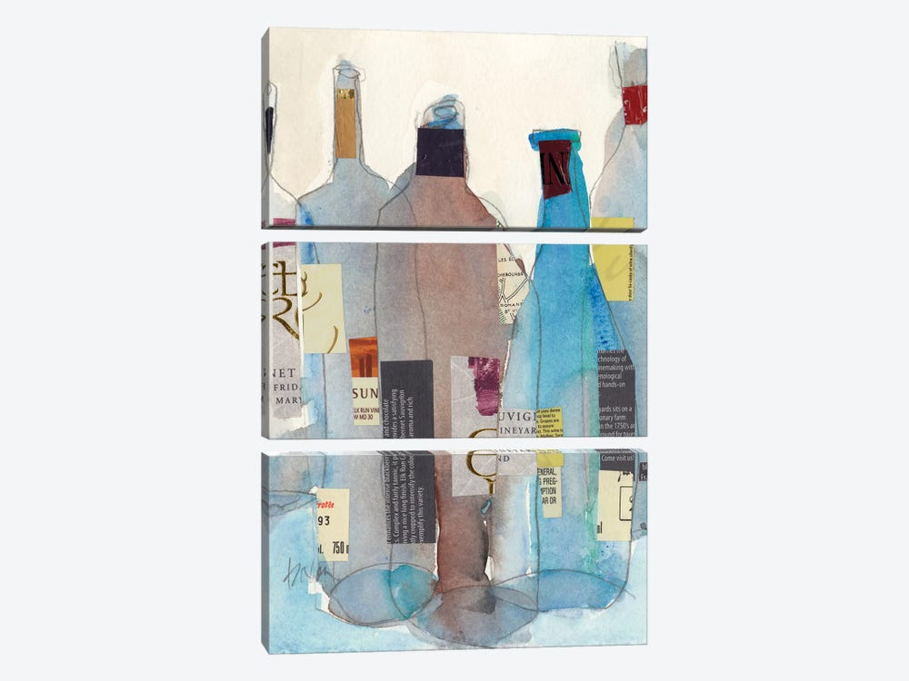 The Wine Bottles I 3-piece Canvas Art Print