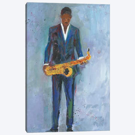 Sax In A Blue Suit Canvas Print #DIX7} by Samuel Dixon Canvas Print