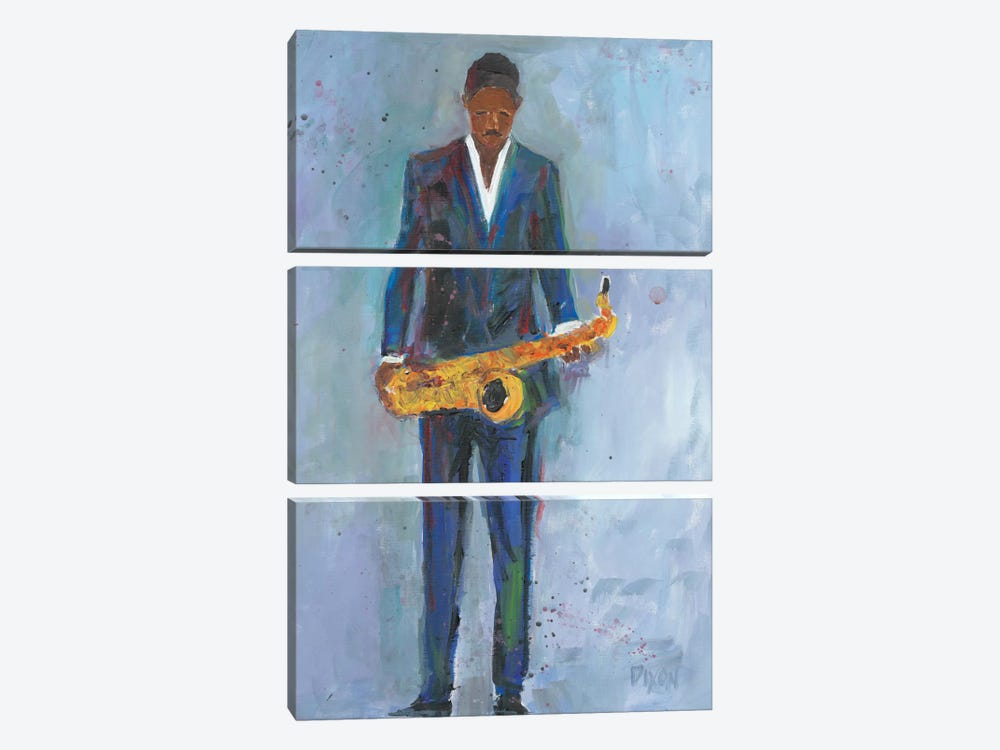 Sax In A Blue Suit by Samuel Dixon 3-piece Canvas Wall Art