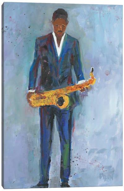 Sax In A Blue Suit Canvas Art Print
