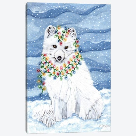 Christmas Lights Arctic Fox Canvas Print #DJA11} by Dawn Jackson Art Print