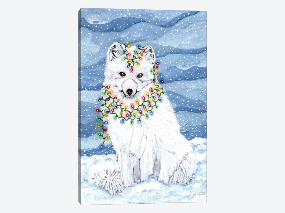 Christmas Lights Arctic Fox by Dawn Jackson 1-piece Canvas Print