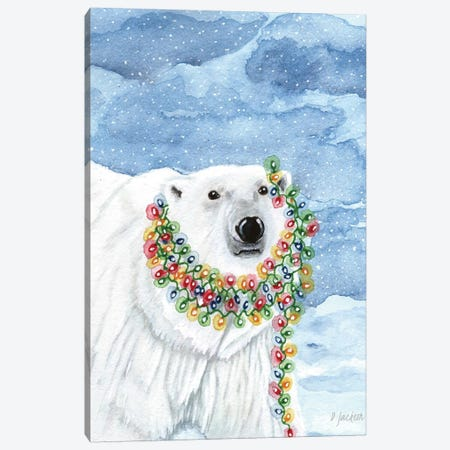 Christmas Lights Polar Bear Canvas Print #DJA12} by Dawn Jackson Art Print