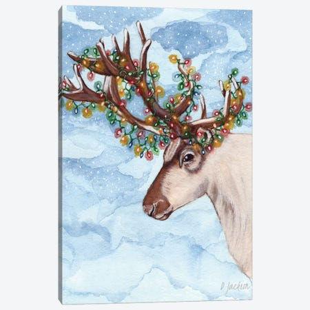 Christmas Lights Reindeer Canvas Print #DJA13} by Dawn Jackson Canvas Print