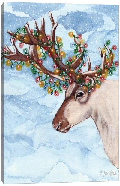 Christmas Lights Reindeer Canvas Art Print