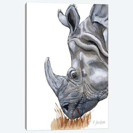 Greater One Horned Rhino Canvas Print #DJA16} by Dawn Jackson Canvas Art