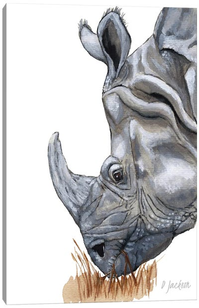 Greater One Horned Rhino Canvas Art Print