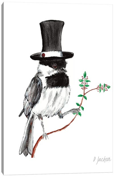 Whimsical Chickadee In Top Hat Canvas Art Print