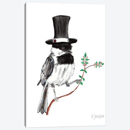 Whimsical Chickadee In Top Hat Canvas Print #DJA24} by Dawn Jackson Art Print