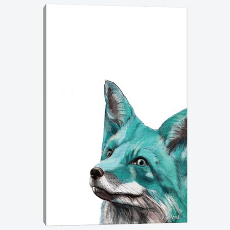 Aqua Blue Fox Canvas Print #DJA2} by Dawn Jackson Canvas Print