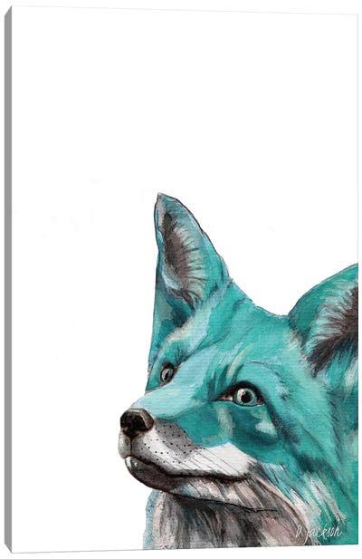 Aqua Blue Fox Canvas Art Print