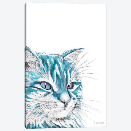 Aqua Blue Cat Canvas Print #DJA31} by Dawn Jackson Canvas Print