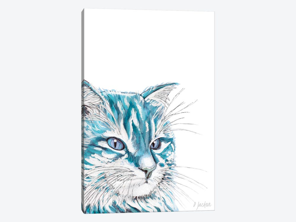 Aqua Blue Cat by Dawn Jackson 1-piece Canvas Art Print