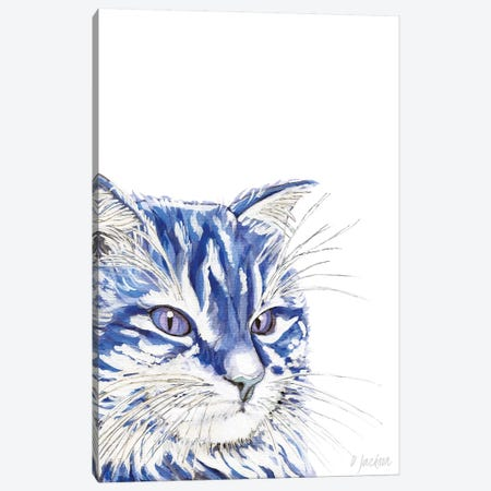 Blue Cat Canvas Print #DJA32} by Dawn Jackson Canvas Print