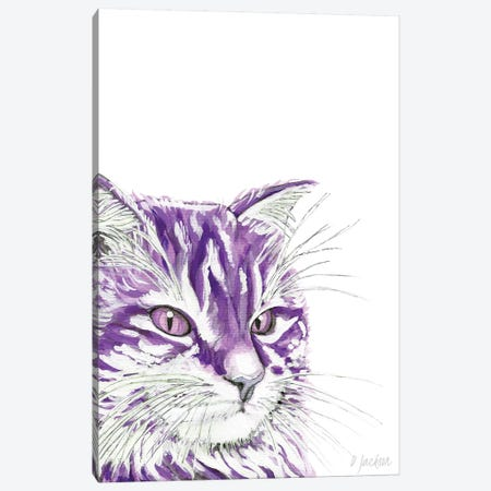 Purple Cat Canvas Print #DJA33} by Dawn Jackson Canvas Art Print