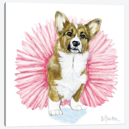 Tutu Corgi Canvas Print #DJA38} by Dawn Jackson Art Print