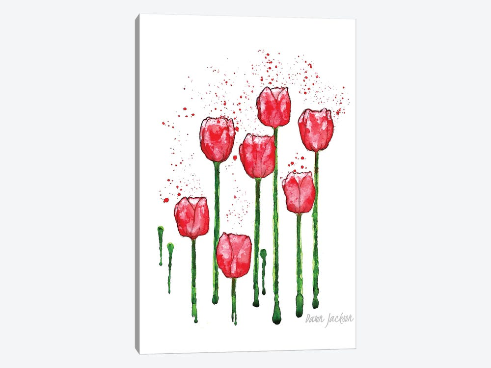 Modern Red Tulips by Dawn Jackson 1-piece Canvas Art Print
