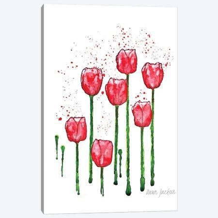 Modern Red Tulips Canvas Print #DJA39} by Dawn Jackson Canvas Art Print