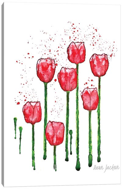 Modern Red Tulips Canvas Art Print