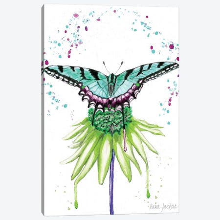 Aqua Boho Butterfly Canvas Print #DJA40} by Dawn Jackson Canvas Wall Art