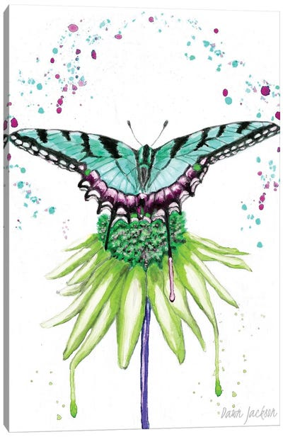 Aqua Boho Butterfly Canvas Art Print